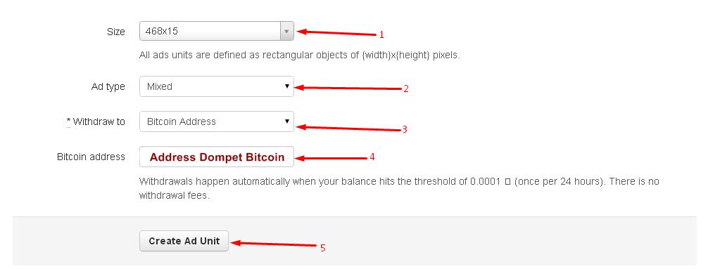 Masukkan alamat dompet Bitcoin