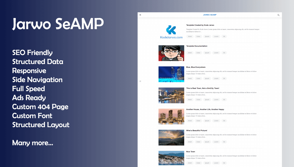 Jarwo SeAMP Free Full Speed Blogger Template