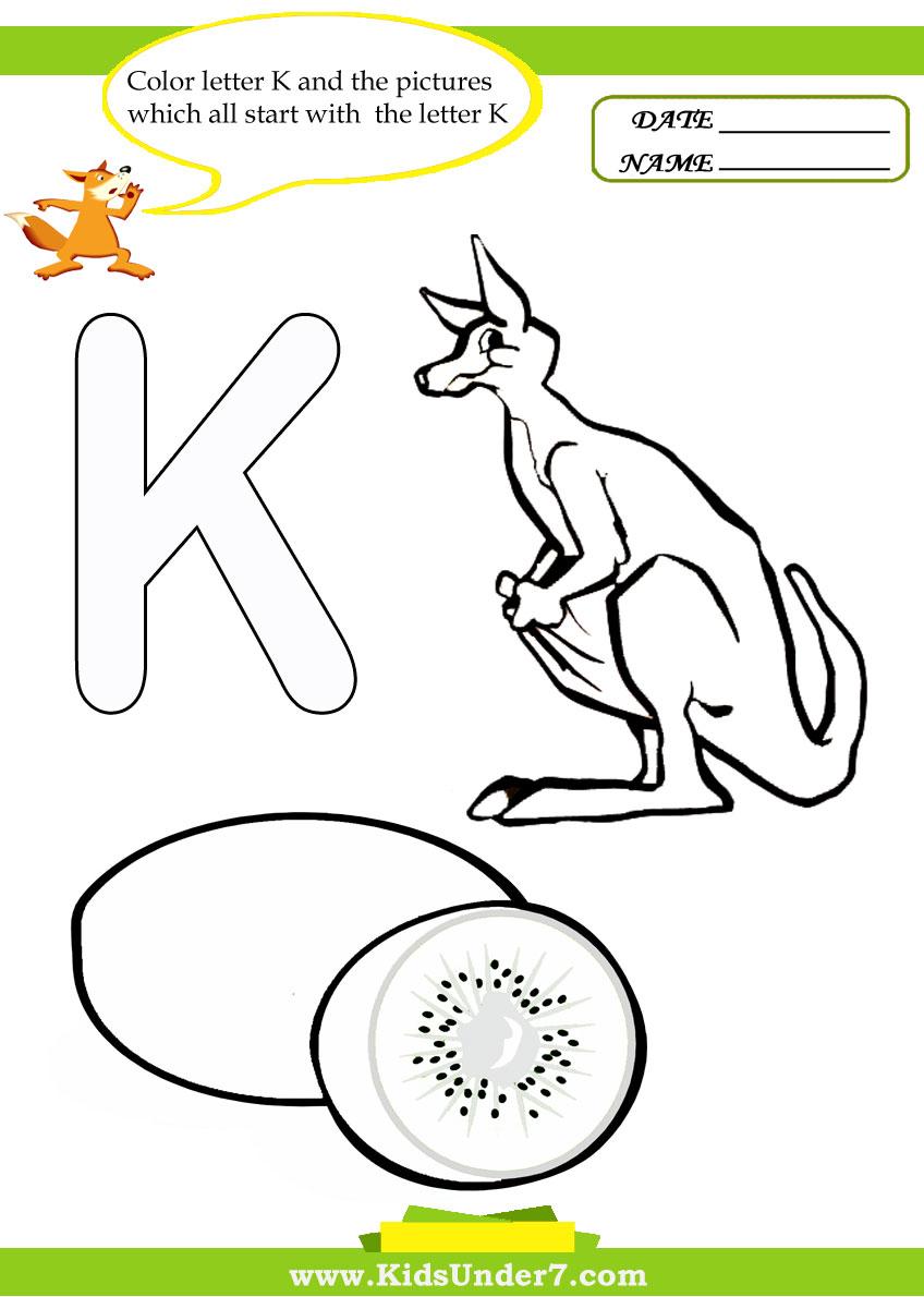 - Kids Under 7: Letter K Worksheets And Coloring Pages
