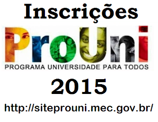 Inscrições Prouni 2015