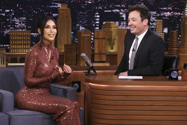 Kim Kardashian West on the Tonight Show with Jimmy Fallon in New York