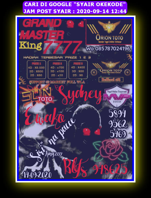 Kode syair Sydney Senin 14 September 2020 20