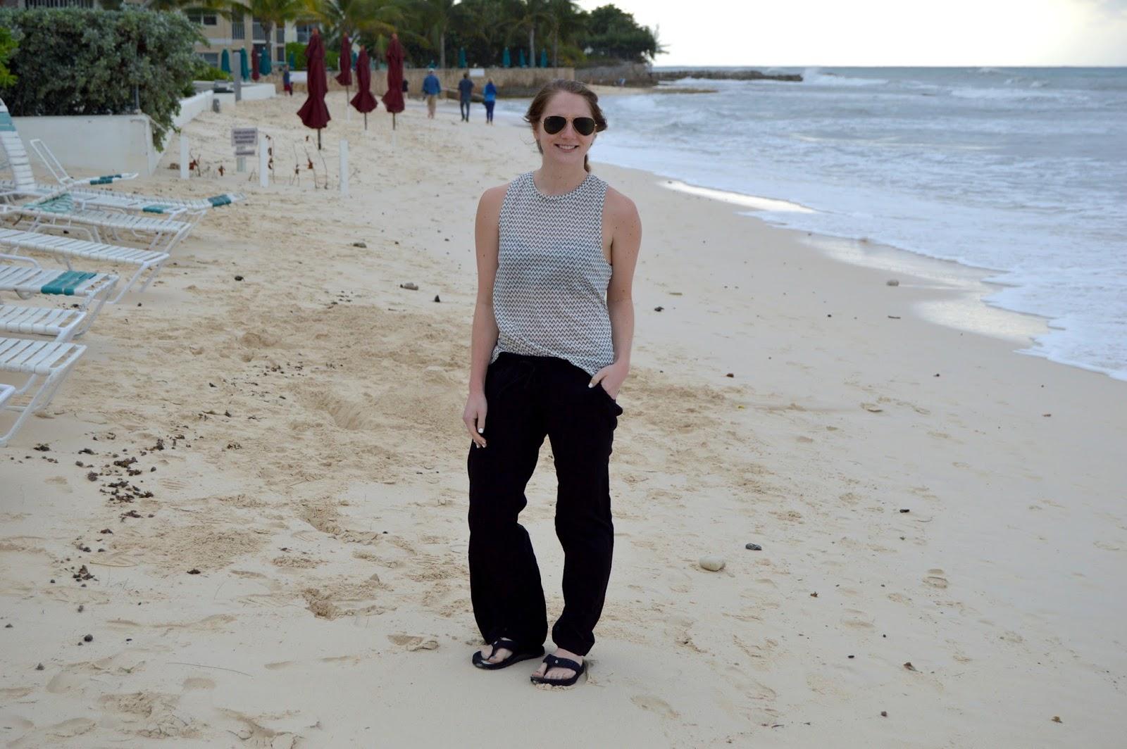 black woven beach pants