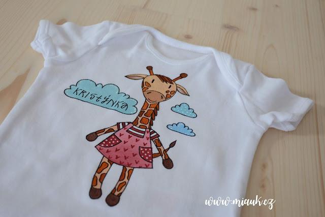 žirafa bodýčko malované