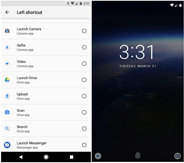 Android O custom lock screen shortcut