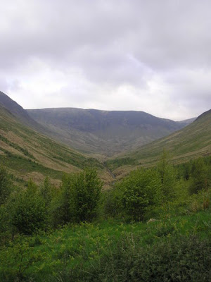 An image of Carrifran - a 1600 acre rewilding project in the Moffat hills.