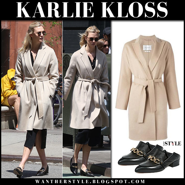 Karlie Kloss in beige belted coat max mara nancy and black leather loafers veronica beard model style april 28