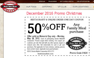 Boston Market coupons december 2016