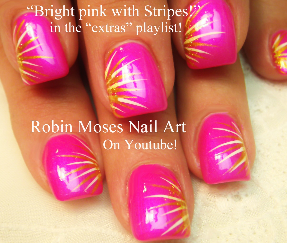 Nail Art by Robin Moses: Summer color fun! Neon Pink and yellow ...