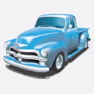 Illustration of Blue 54 Chevy Pickup