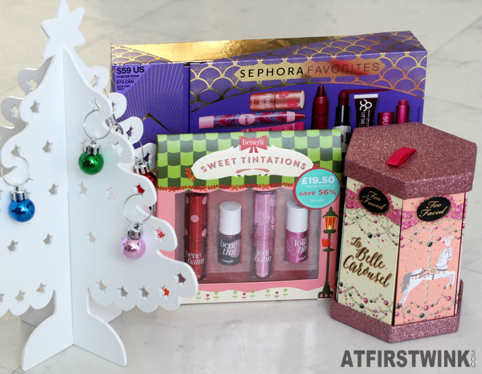 Christmas 2014 gifts: Sephora Favorites - Give Me More Lip, benefit Sweet Tintations, and Too Faced La Belle Carousel