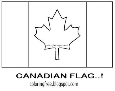 Basic red and white standard coloring in page national flag of Canada printable maple tree leaf logo