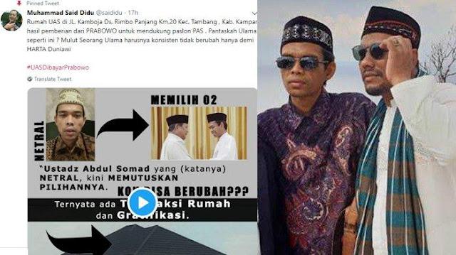 UAS: Fitnah yang Muncul Pascapertemuan dengan Prabowo Sudah Dipersiapkan dengan Matang