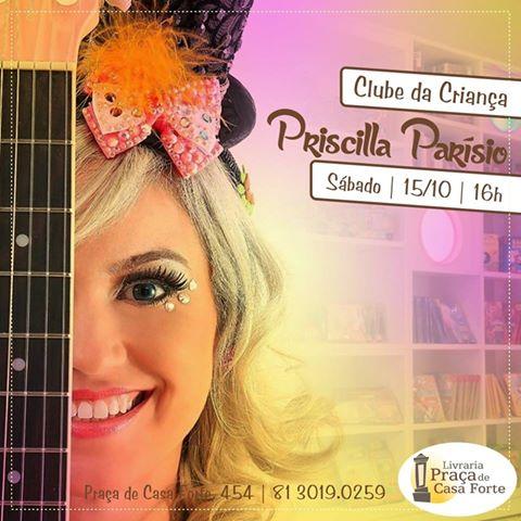Priscilla Parísio se apresenta na Livraria Praça de Casa Forte, com músicas e histórias no sábado, 15 de outubro.