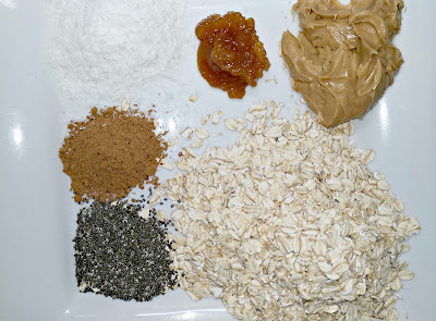 Turning mommy ingredients for energy bites,chia, flax, coconut, nut butter