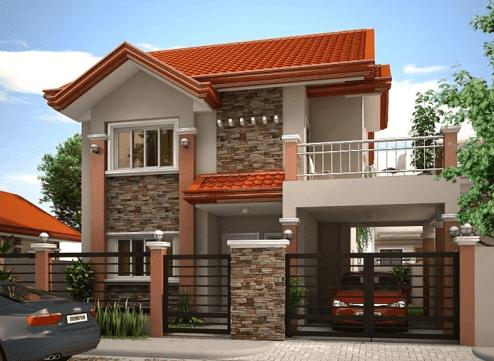 Model depan rumah batu alam modern