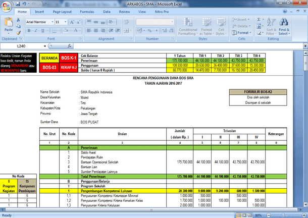Aplikasi RKAS dan Laporan BOS SMA SMK (ARKABOS SMA SMK 15 Komponen Pembayaran)