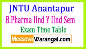JNTU Anantapur B.Pharma IInd Y IInd Sem(R07) Supply March 2017 Exam Time Table