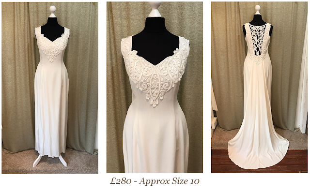 pinup sexy fitted vintage wedding dress low back lace train available at vintage lane bridal boutique in bolton , manchester, lancashire