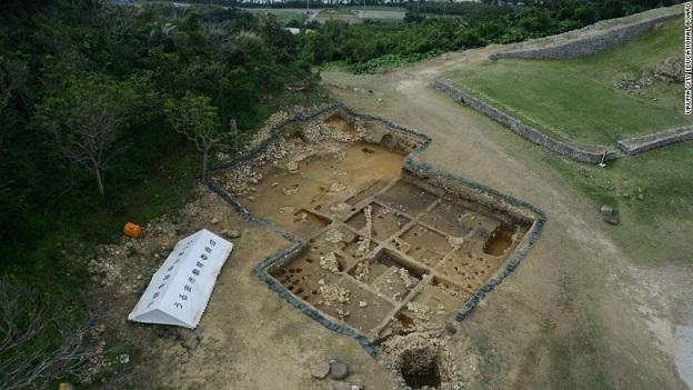 Vue aérienne du site de fouilles du château de Kasturen.
