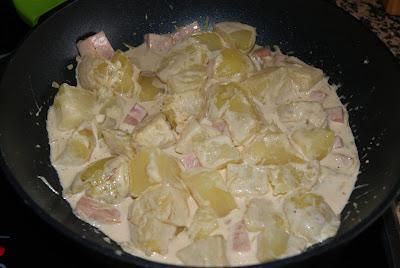 patatas con jamón a la crema de soja paso 4