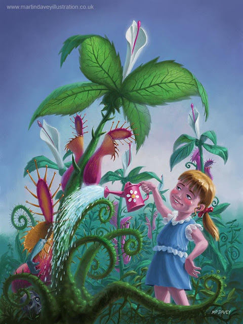 monster plants being watered by girl illustration Martin Davey