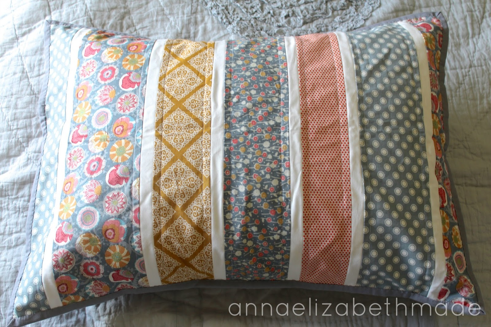 anna elizabeth made quilted pillow sham tutorial. Black Bedroom Furniture Sets. Home Design Ideas