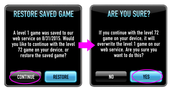 restore saved game