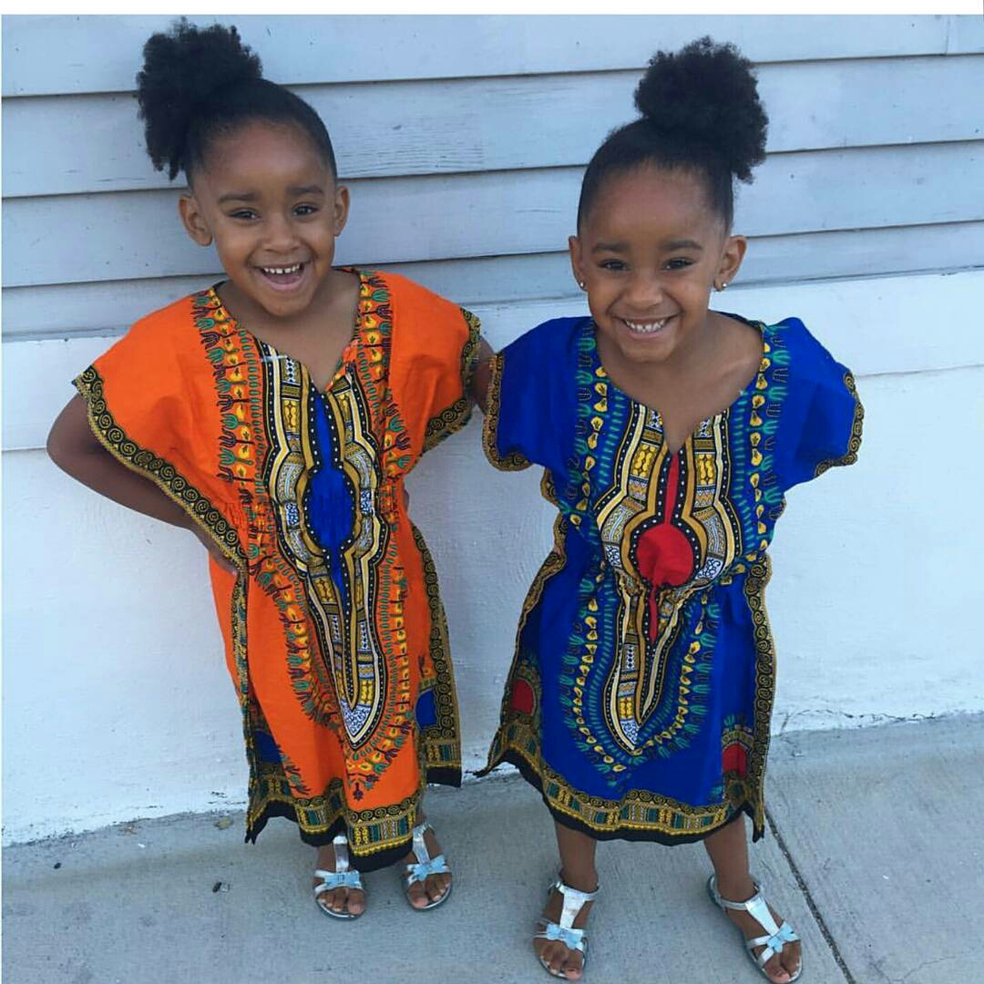 Dressing des 4 Saisons African style Dashiki orange bleu Dress robe kaftan girls Concours