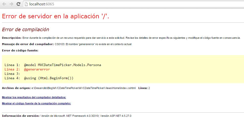 Error generado por Index.cshtml