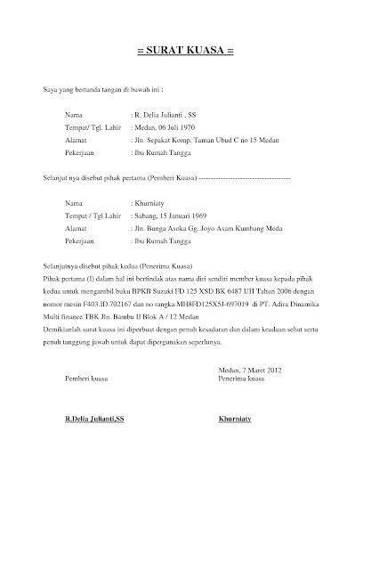 Contoh Surat Kuasa Ambil Bpkb - Lowongan Kerja Terbaru