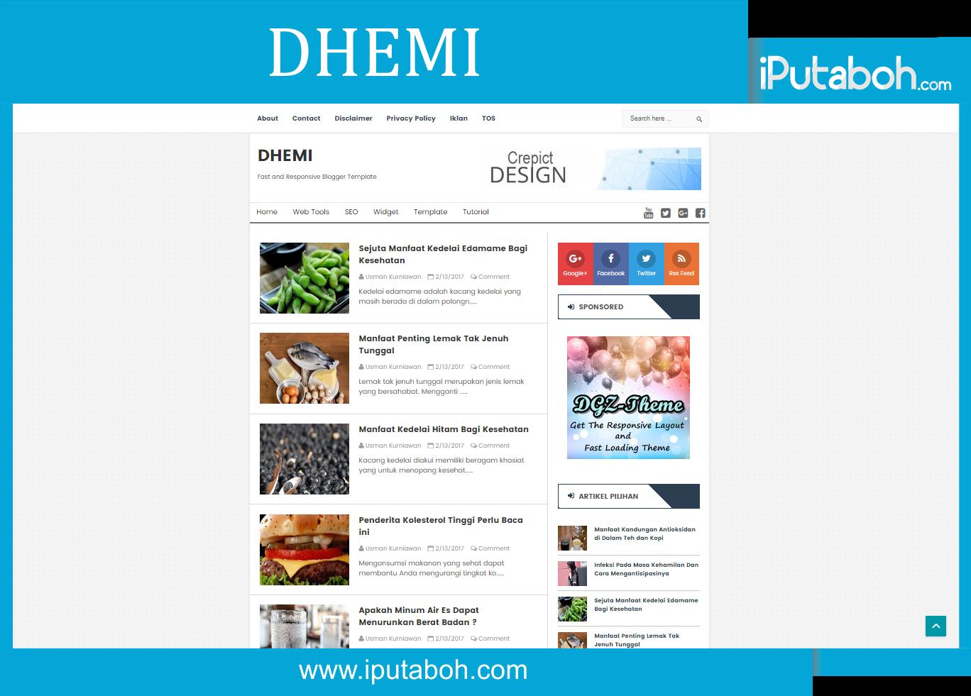 Dhemi Free Blogger Templates - iPutaboh : Blogger Templates