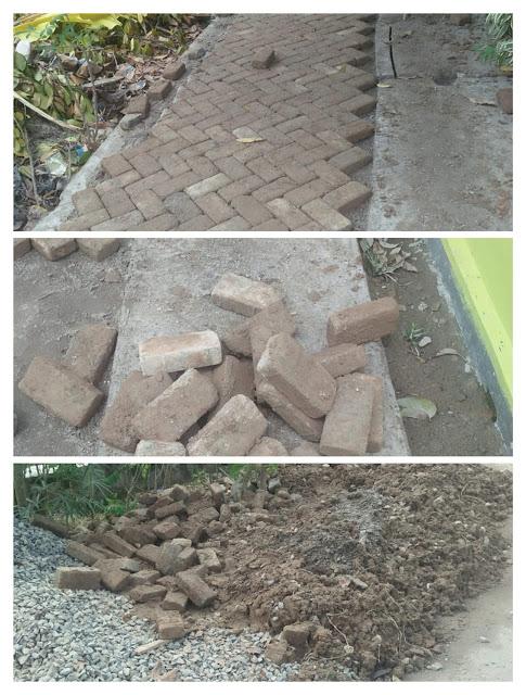 Salah satu lokasi proyek Kotaku di Kecamatan Tanjungbalai Selatan, Kota Tanjungbalai yang menggunakan batu paving block bercampur lumpur dari tanah liat, Sabtu (6/10).