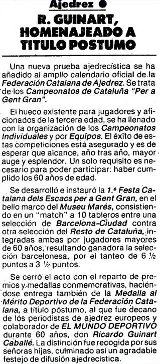 Nota sobre Ricard Guinart i Cavallé en El Mundo Deportivo en 1984