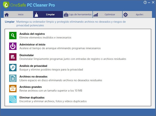 OneSafe PC Cleaner Pro imagenes