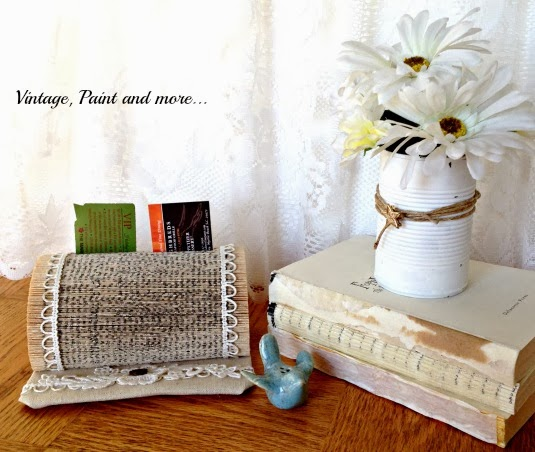 Book Page Note Holder - image of finished book on desk with bird and tin can of flowers