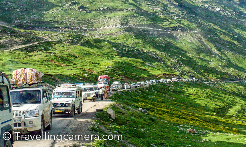 If you are planning a trip to Manali, Rohtang Pass, Kullu, Manikaran or Lahual Spiti, which Photo Journey will give you some glimpses of landscapes you can expect along with some tips on planning the trip. Which includes modes of transportation, right places to stay and things to do around this region. Manali used to be one of my regular destination 8 years back and almost every year I was there during summers as well as winters.Kullu-Manali used to be one of the top 10 destinations in India, when most of the bollywood was only shooting around Kullu valley. Bollywood has been one of the  most important influencer in tourism industry and over the years India has got many new places which were least explored. And some of them are over-hyped because of super-hit bollywood movies :). Still this remains in the top list for folks who like to be around natural beauty. Lot of tourists like Manali, although travelers may want to cross it to hit Spiti or Lahual region. Things have been changing very fast and the places as well.Manali is little far for non-Himachalis as compared to Shimla, especially folks coming from Delhi/Chandigarh and other states of the country. But roads are pretty decent and that's the only way to hit Manali town. Train is available till Kiratpur(Punjab) and from there one needs to book the taxi or opt for bus. Weekly flights are also available from Delhi which would land you at Bhuntar and need to take Taxi. It would take approximately 3 hours from bhuntar to Manali (writing on the basis of road current conditions). So it's always recommended to check road condition when someone plans to visit a place/region.Direct luxury buses are easily available from Delhi, Chandigarh, Shimla or other nearby cities in Himachal, Punjab and Haryana. Most of the Volvo and Mercedes buses take 13-14 hours from Delhi to Manali. These buses take 2-3 stops for food and snacks. And they stop at good places unlike other roadways buses which usually stop at dhabas in relativel