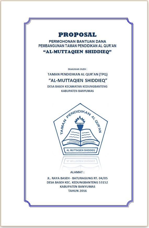 Contoh Proposal Bantuan Dana Pembangunan Tpq Taman Pendidikan Al