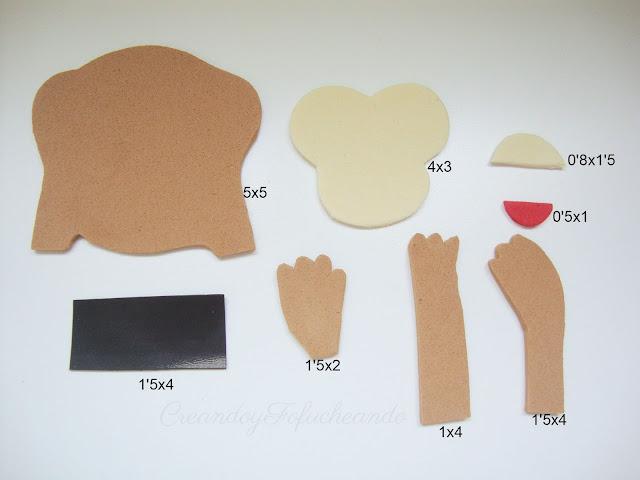 Medidas de las piezas para los imanes de monos en goma eva