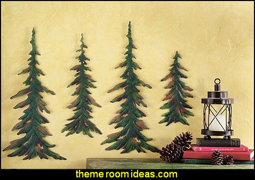 Pine Tree Metal Wall Decor log cabin - rustic style decorating - Cabin decor - bear decor - camping in the northwoods style  - Antler decor - log cabin boys theme bedroom - Cabin Bedding - Rustic Bedding - rustic furniture - cedar beds - log beds - LOG CABIN DECORATING IDEAS - Swiss chalet ski lodge murals - camping room decor - hunting and fishing theme decorating