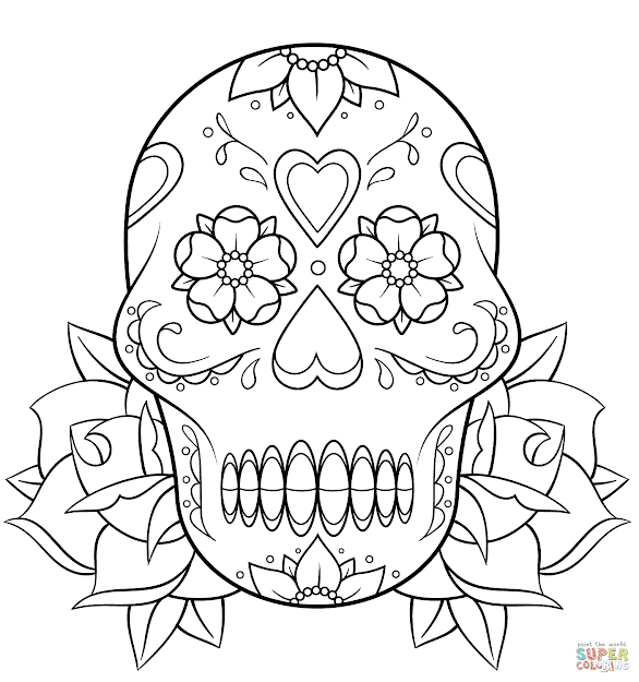 Click The Sugar Skull And Roses Coloring Pages