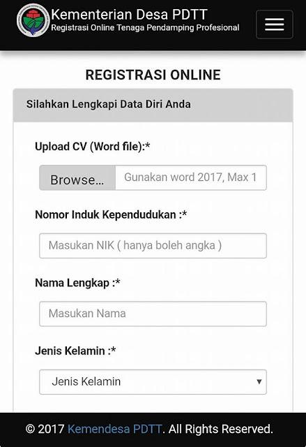 Website pendaftaran dan Registrasi Online Tenaga Pendamping Desa 2017