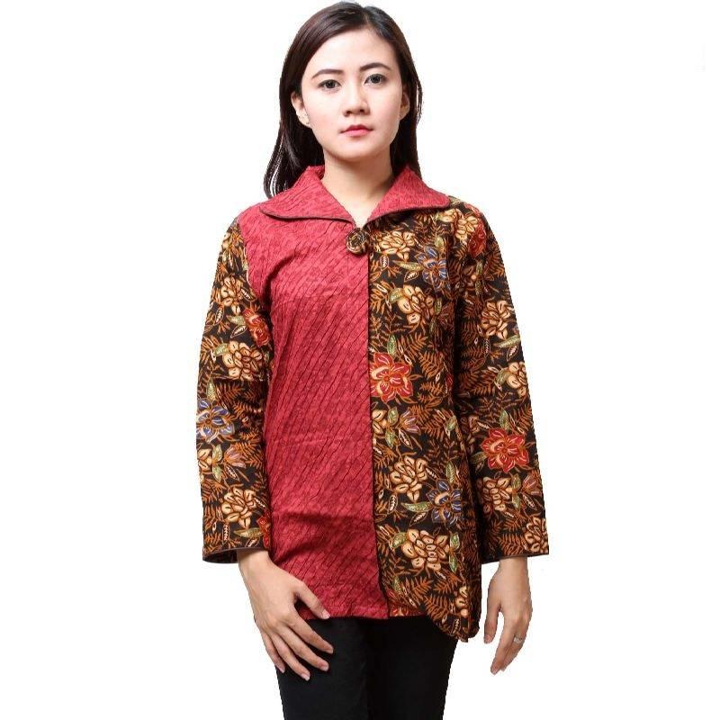 Gambar Baju Batik Kerja Kombinasi Polos: 10 Baju Batik Wanita Kantor Lengan Panjang, Elegan!