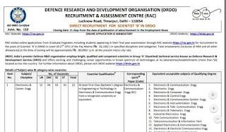 DRDO Scientist-B Recruitment 2018 Notification