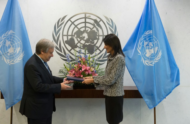 New US Ambassador to the United Nations Nikki Haley hands her credentials to UN Secretary-General Antonio Guterres