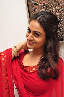 Actress Aksha Pictures in Red Salwar Kameez At Kalamandir 6th Anniversary Celebrations  0012