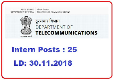 Department of Telecommunications - Intern Posts Apply online On or Before: 30.11.2018