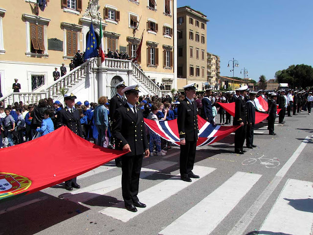 Cadets carrying the flags, Foreign Navies ceremony, Livorno