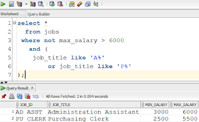 Example for SQL AND OR NOT usage in one query by SQL Tutorial Tips