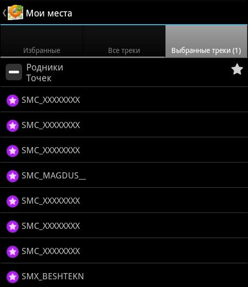 Список точек файла на вкладке «Выбранные треки»